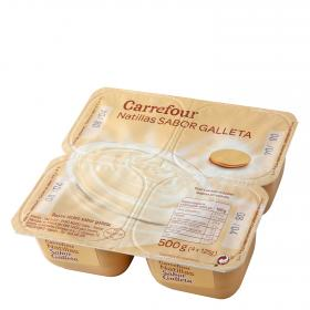 Carrefour natillas sabor galleta de 125g. por 4 unidades