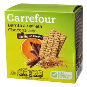 Carrefour barritas galleta sabor chocolate naranja de 210g.
