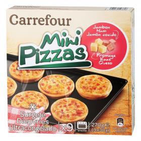 Carrefour mini pizzas jamon queso de 270g.