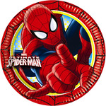 Spiderman plato decorado redondo 23 cm 8 en paquete
