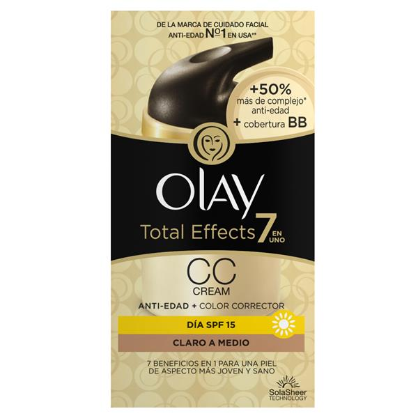 Olay crema cc correctora total effects spf15 claro medio de 50ml.