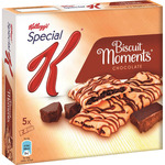 Kelloggs special k biscuits moments barritas cereales rellenas chocolate 5 packs x 2 biscuits estuche de 125g.