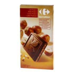 Carrefour tableta chocolate con leche praline de 150g.