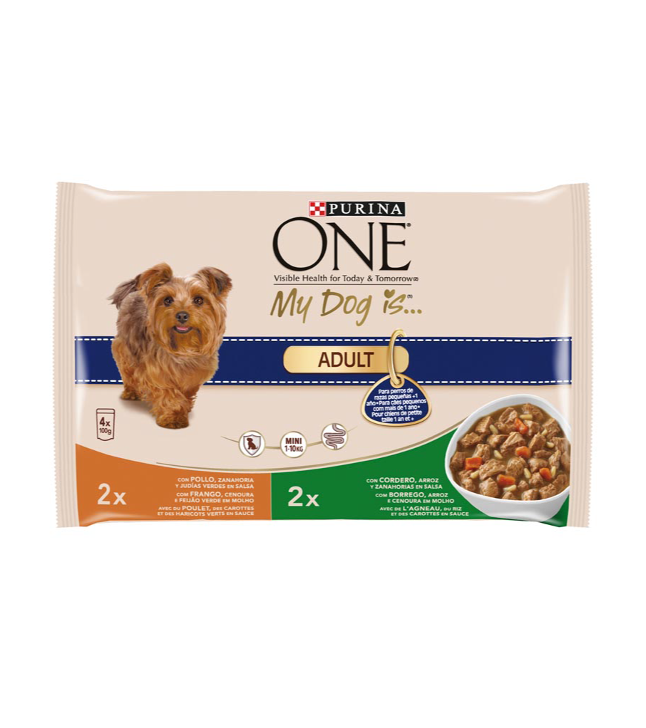 Purina One Mini my dog is adult alimento perro raza mini con pollo verduras con cordero arroz de 100g. por 4 unidades en bolsa