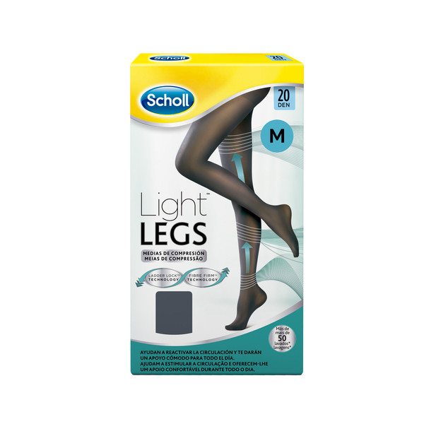Scholl medias compresion 20 den talla m color negro light legs