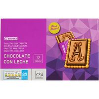 Eroski galleta con tableta chocolate con leche de 250g. en paquete