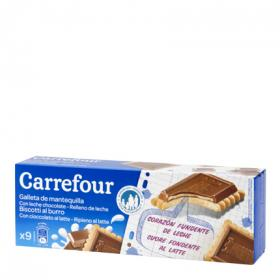 Carrefour galletas chocolate rellenas leche de 140g.