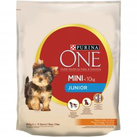 Purina One Mini comida seca perro mini junior pollo arroz de 800g.