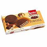Loacker wafer rellena chocolate negro tortina de 125g. en paquete