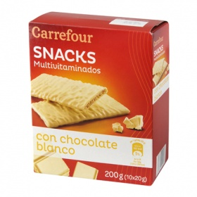 Carrefour galleta multivitaminica bolacha bañada con chocolate blanco de 210g.