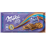 Milka chocolate con leche chips ahoy tableta de 100g.