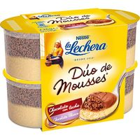 La Lechera mousse duo chocolate blanco de 59g. por 4 unidades