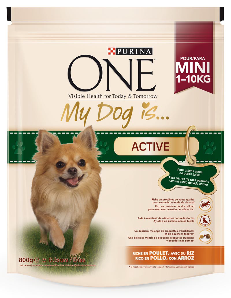 Purina One Mini one my dog is active mezcla croquetas crujientes bocados tiernos rico en pollo arroz perros mini de 800g. en bolsa