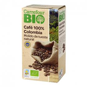 Carrefour cafe molido natural 100% colombia bio de 250g.