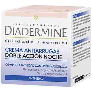 Diadermine crema noche antiarrugas doble accion de 50ml.
