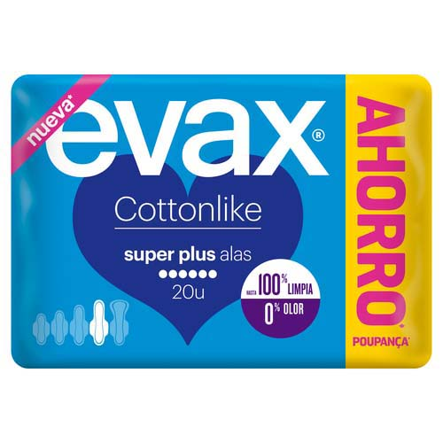 Evax compresas superplus con alas cottonlike 20