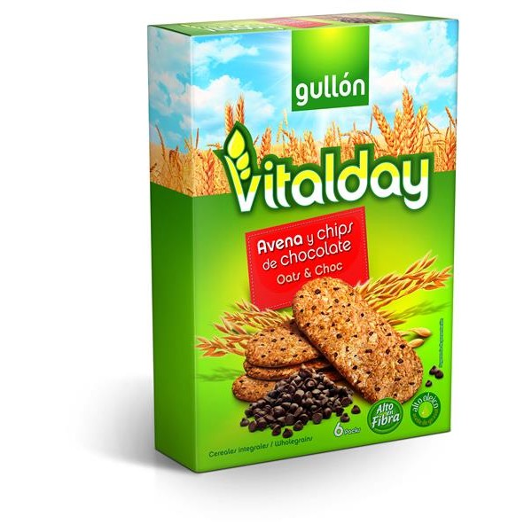 Gullón Vitalday vitalday galletas avena con chips chocolate cereales integrales 6 packs envase de 240g.
