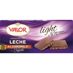 Valor chocolate con leche crujiente caramelo light 30% menos calorias tableta de 100g.