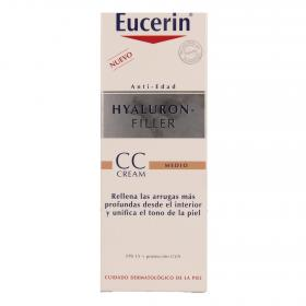 Eucerin crema antiedad hyaluron filler con color tono medio de 50ml.