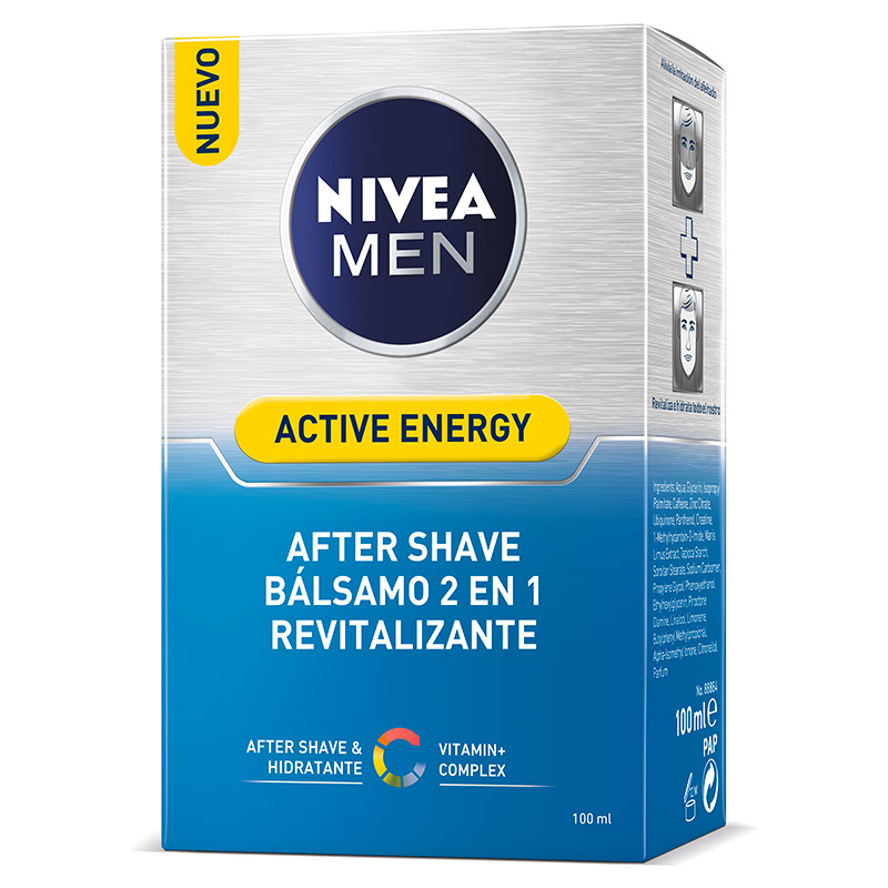 Nivea Men hombre skin energy after shave q10 revitalizante balsamo doble accion instant effect de 10cl. en bote