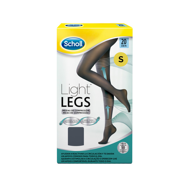 Scholl medias compresion 20 den talla s color negro light legs