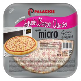 Palacios pizza jamon bacon queso de 225g.