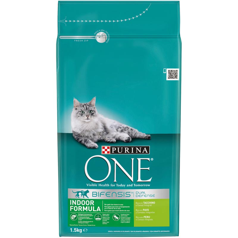 Purina One gatos interior rico en pavo cereales integrales de 1,5kg.