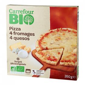 Carrefour pizza 4 quesos bio de 350g.