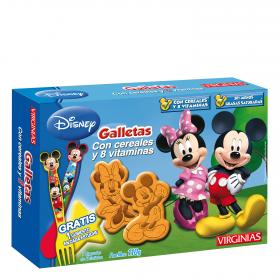 Virginias galletas con cereales 8 vitaminas con forma mickey minnie de 110g.