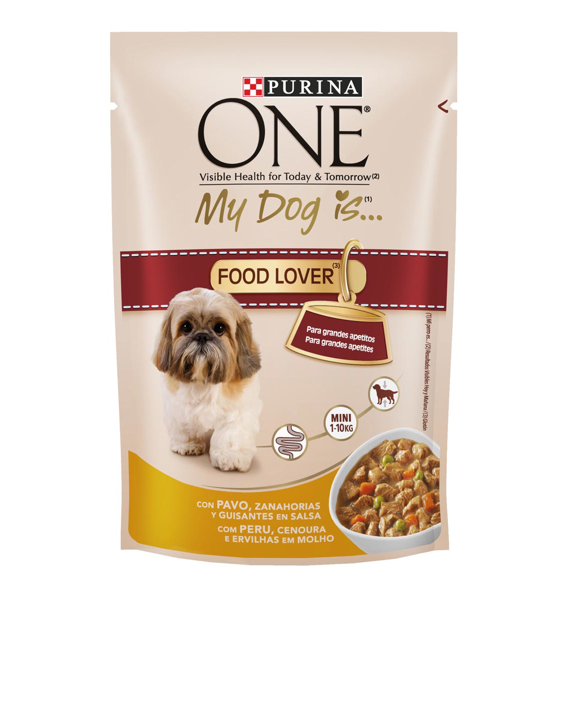 Purina One Mini my dog is food lover alimento humedo perros raza mini pavo con verduras en salsa de 100g. en bolsa
