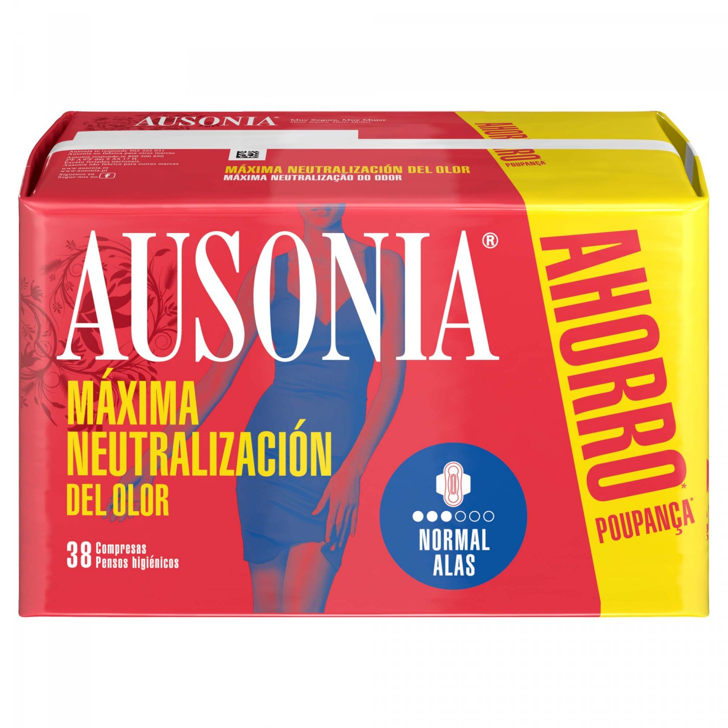 Ausonia compresa normal con alas air dry 38 en paquete