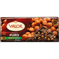 Valor chocolate puro con avellanas tableta de 200g.