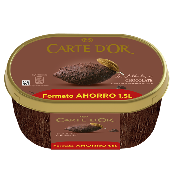 Carte D'or frigo helado chocolate con trocitos chocolate con 70% cacao ecuatoriano de 1,5l. en tarrina