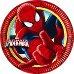 Spiderman plato decorado redondo 18 cm 8 en paquete