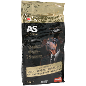 As as selection alimento para perros adultos rico en pollo de 4kg. en bolsa