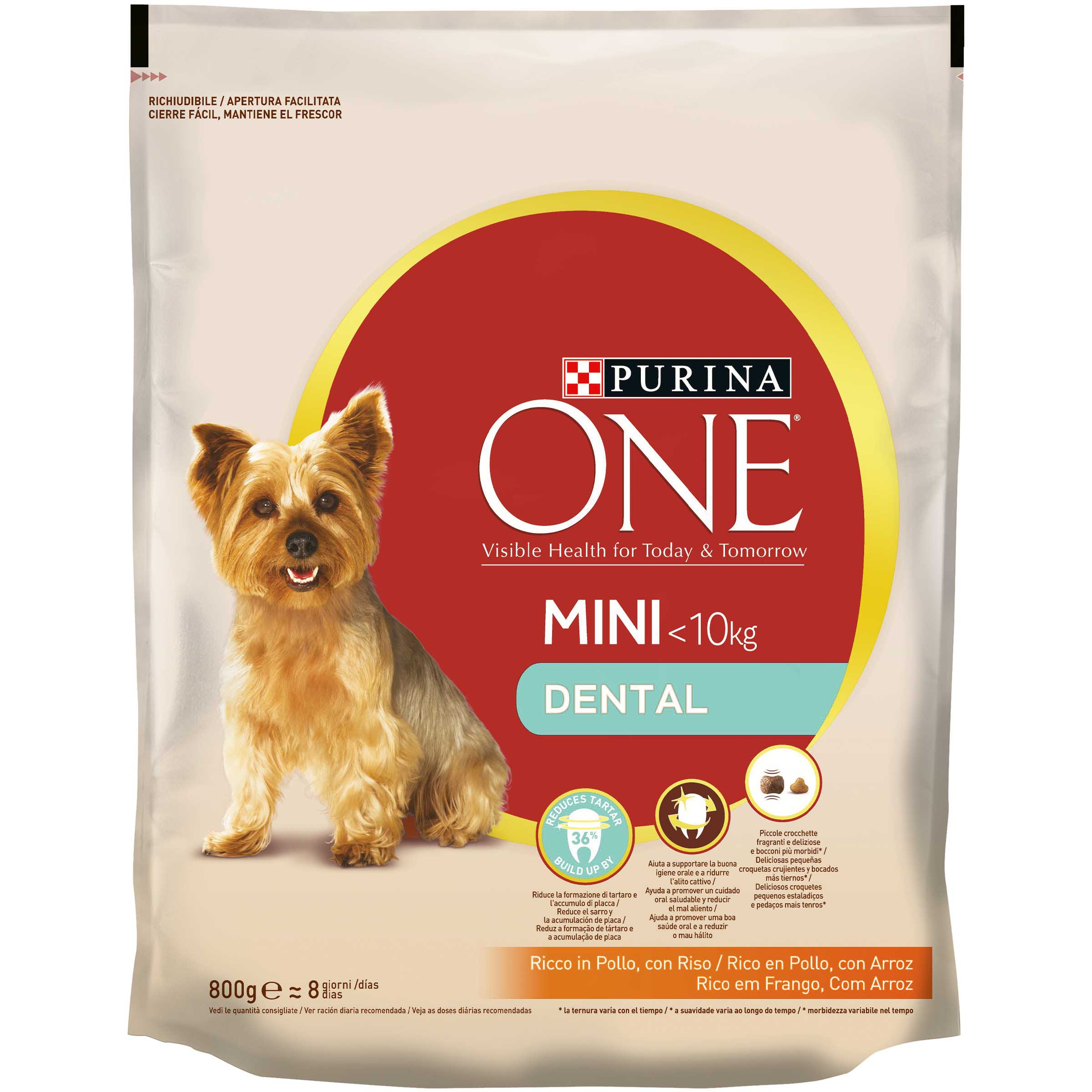 Purina One Mini dental alimento perro adulto raza mini cuidado dental de 800g. en paquete