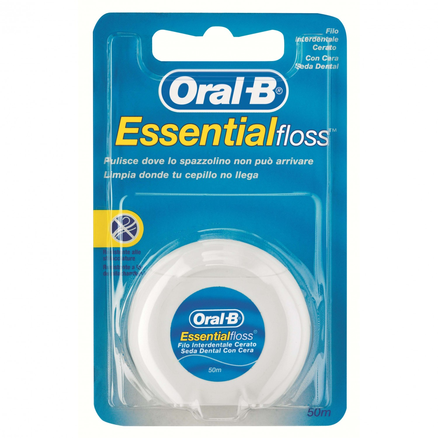 Oral B seda dental essential floss con cera de 50m. en caja