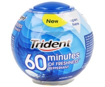Trident 60 minutes of freshness chicle sin azucar sabor menta peppermint de 80g. en bote