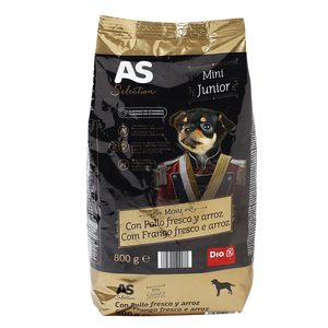 As as selection alimento para perros junior mini rico en pollo de 800g. en bolsa