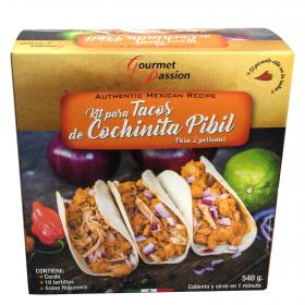 Gourmet passion kit tacos cochinita pibil de 540g.