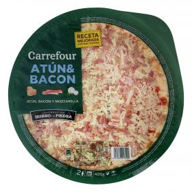 Carrefour pizza fresca atun bacon de 400g.