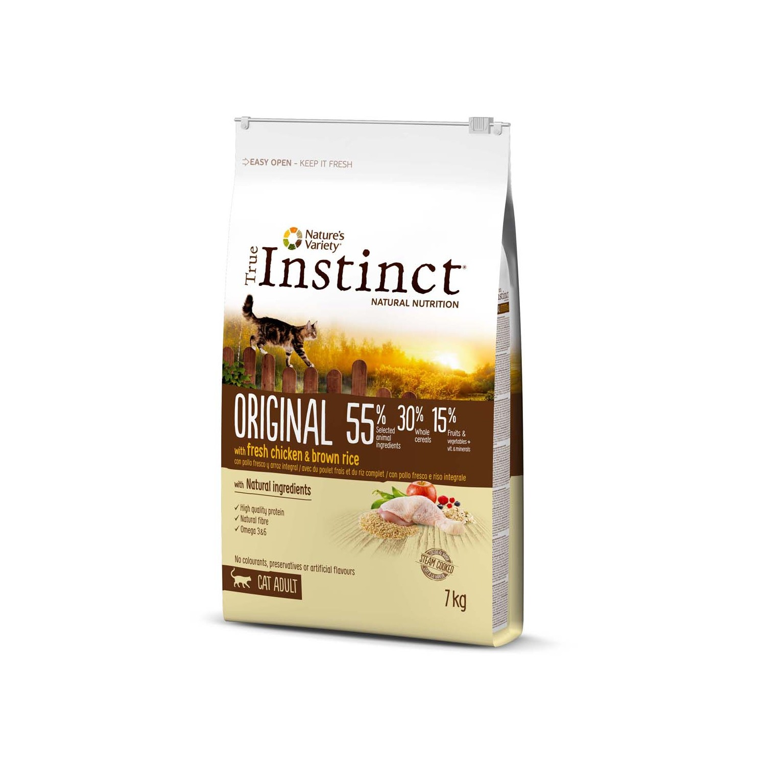 True Instinct original alimento natural gato adulto con pollo arroz envase de 7kg.