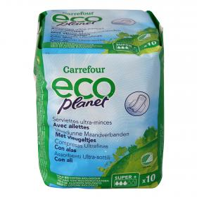 Carrefour Eco compresa ultrafina super con alas planet 10 en paquete
