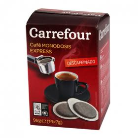 Carrefour cafe natural descafeinado monodosis cafetera express de 98g.