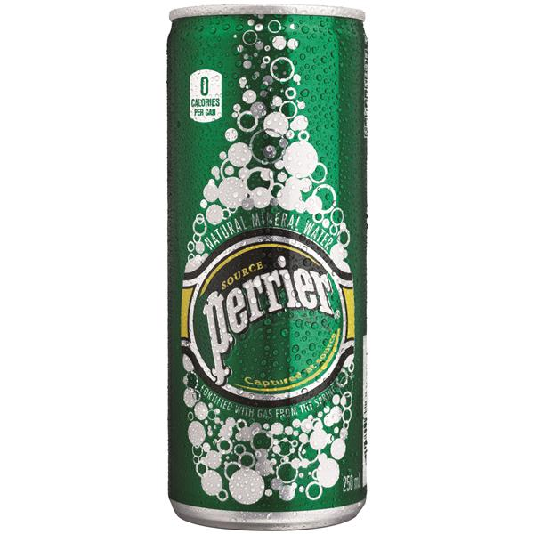 Perrier agua mineral natural con gas de 25cl.