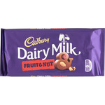 Cadbury fruit & nut chocolate con leche avellanas pasas tableta de 200g.