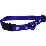 San Dimas collar nailon ajustable perro color azul con cascabel medida 10 mm