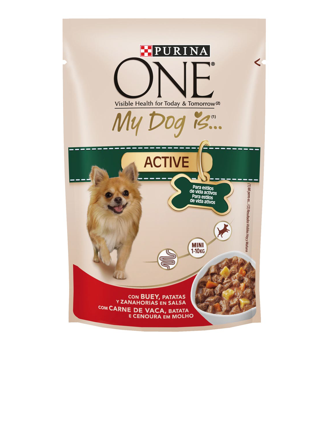 Purina One Mini my dog is active alimento perros mini activos con buey zanahorias con patatas en salsa de 100g. en bolsa