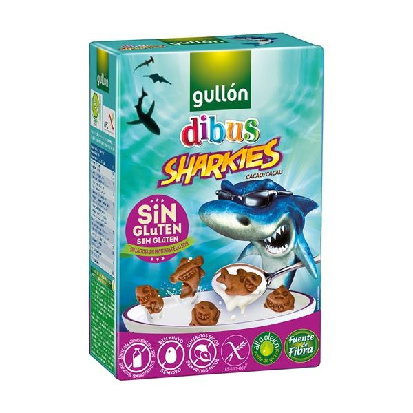 Dibus galletas mini sharkies cacao sin gluten de 250g.