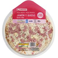Eroski pizza jamon queso de 400g.